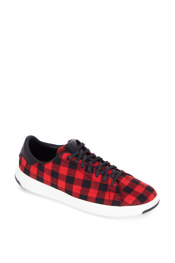Cole Haan Grandpro Tennis Red Buffalo Plaid Sneaker