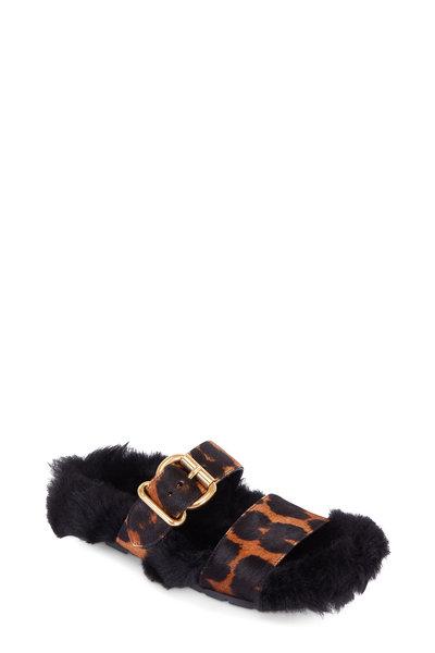 Prada - Leopard Print Calf Hair & Fur Sole Slide