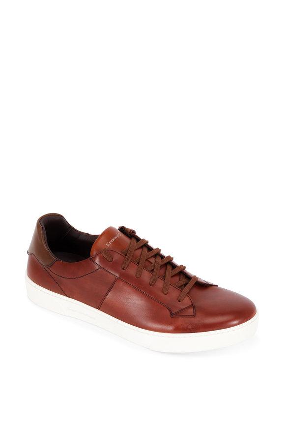 Ermenegildo Zegna Vittorio Cognac Leather Sneaker