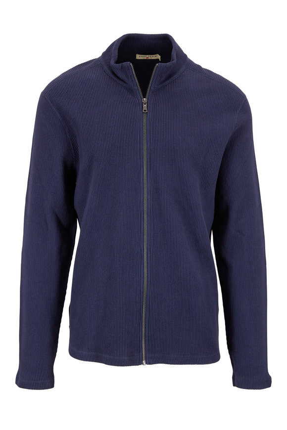 Agave Navy Blue Ribbed Knit Zip Cardigan