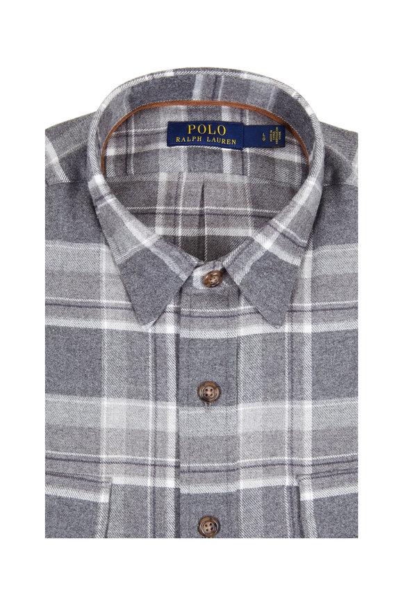 Polo Ralph Lauren Charcoal Gray Plaid Flannel Sport Shirt