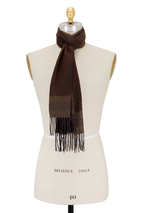 Canali Brown & Gray Patterned Cashmere & Silk Scarf