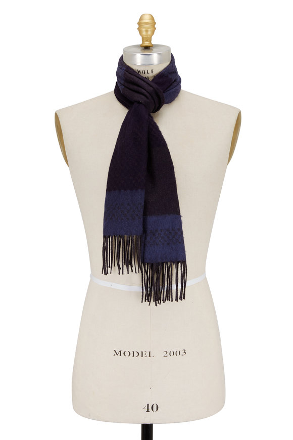 Canali Navy & Gray Patterned Cashmere & Silk Scarf
