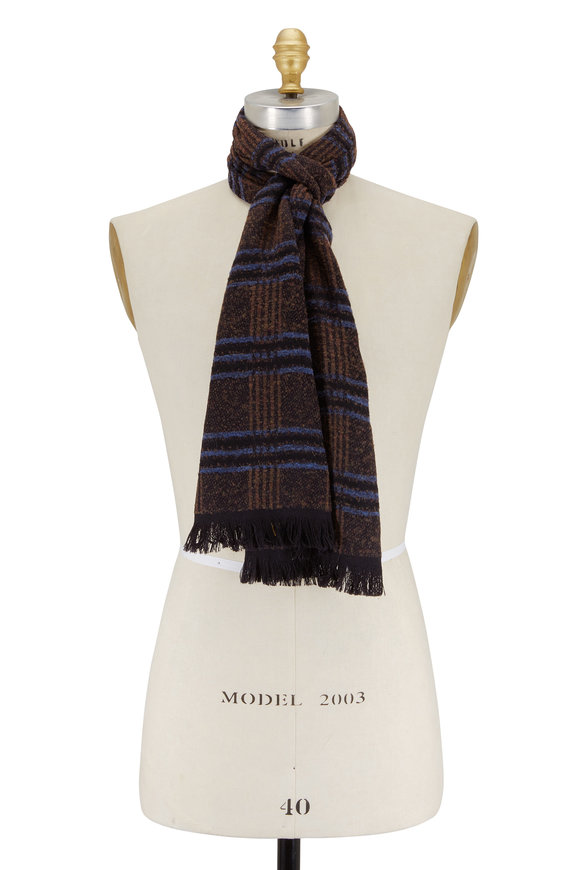 Canali Brown & Blue Plaid Wool Scarf