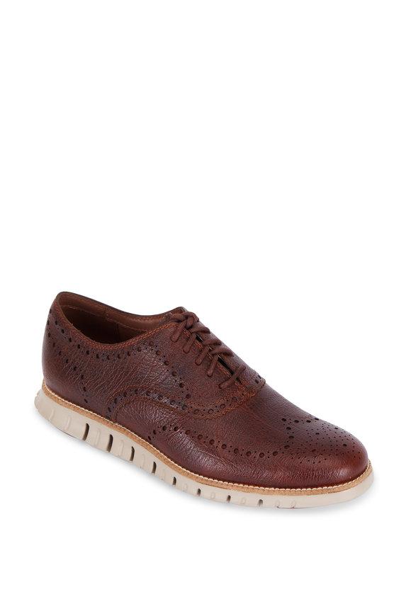 Cole Haan Zero Grand Brown Leather Wingtip Oxford