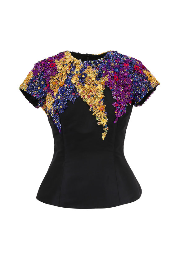 Oscar de la Renta Black Multicolor Sequin Peplum Top