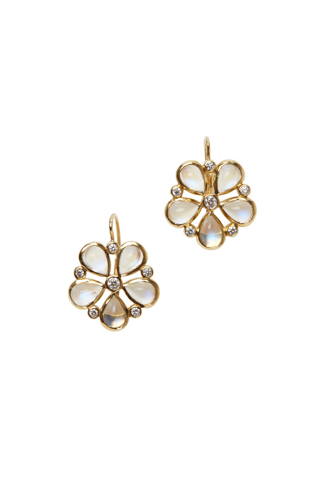 Yellow Gold Blue Moonstone Flower Earrings