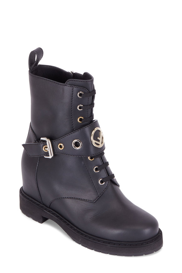 Fendi Black Leather Wedge Combat Boot