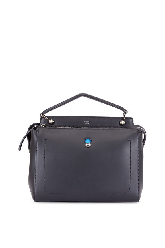 Fendi Dotcom Black Leather Medium Satchel