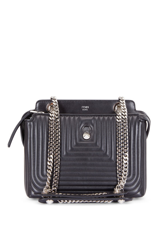 Fendi Dotcom Black Quilted Chain Shoulder Bag