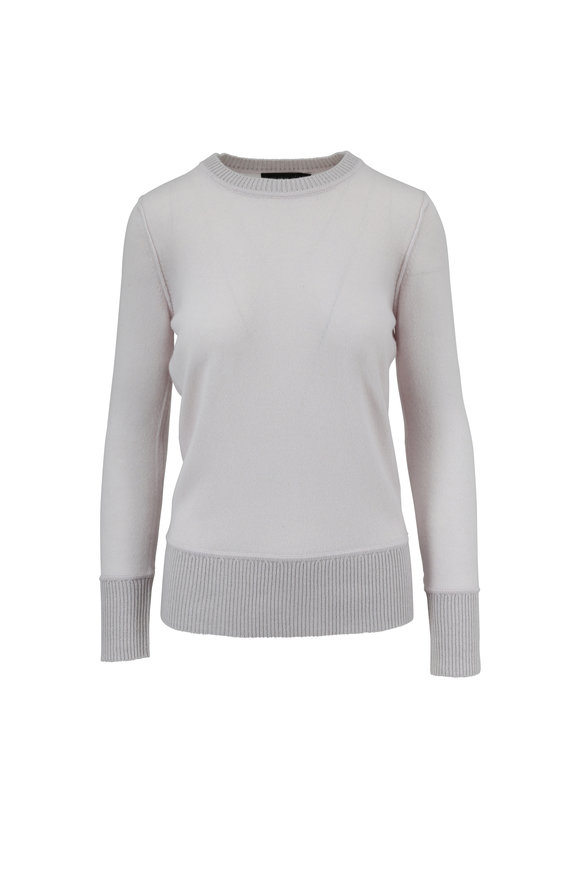Raffi  Silver Plaited Ribbed Cashmere Crewneck Sweater