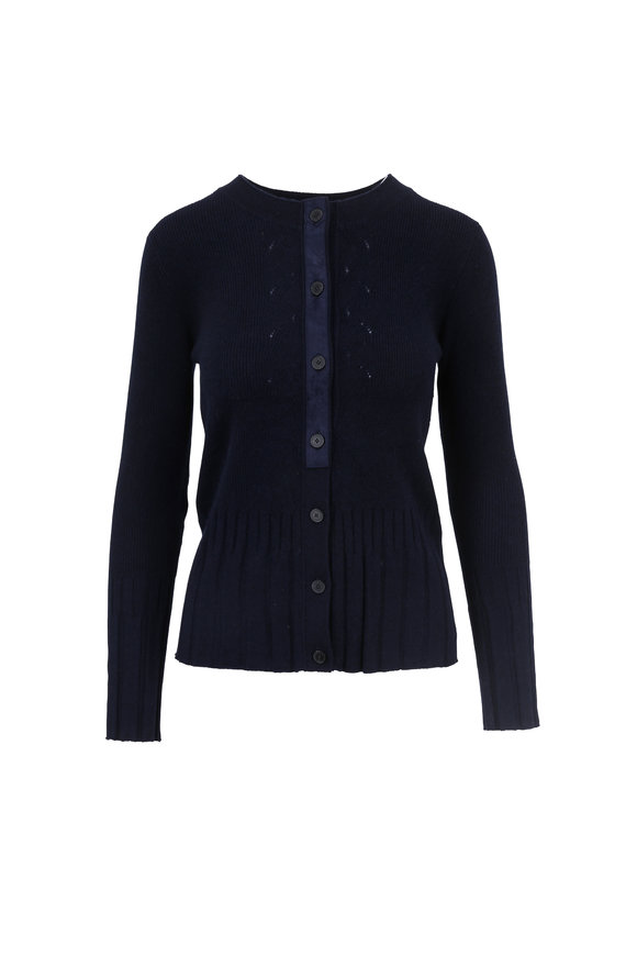Raffi  Navy Ribbed Cashmere Button Cardigan