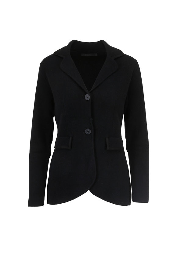 Raffi  Black Cashmere Knit Two Button Hi-Low Blazer