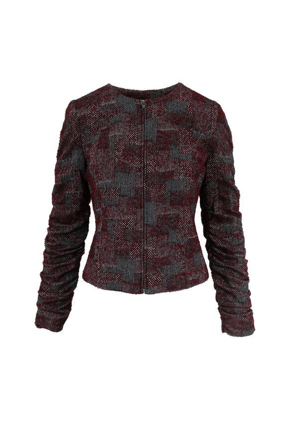 Donna Degnan Maroon & Gray Bouclé Zip Jacket