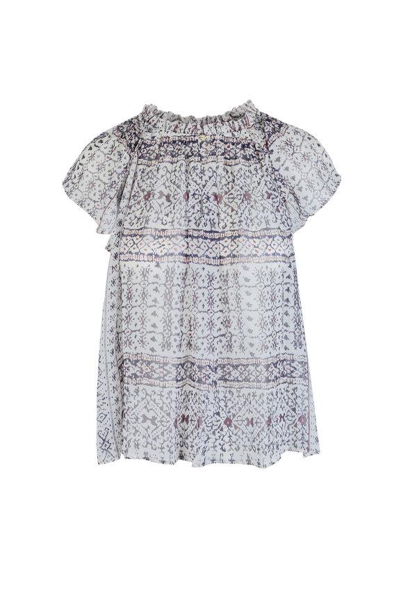 Ulla Johnson Aryn White Silk Ikat Print Short Sleeeve Blouse