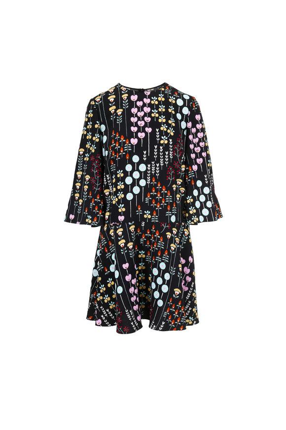 Valentino Black Multicolor Floral Print A-Line Dress