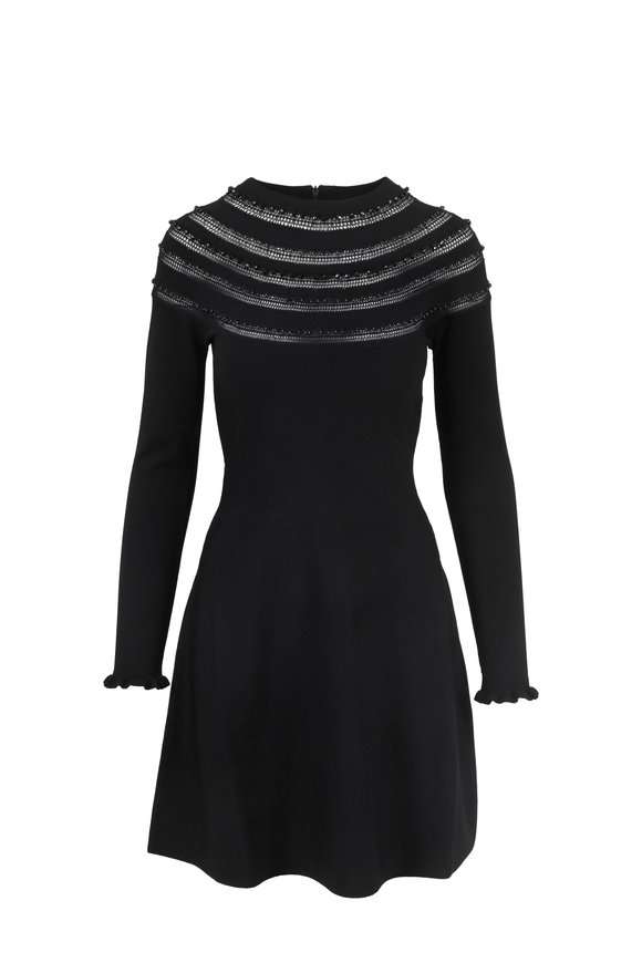 Valentino Black Beaded Long Sleeve Fit & Flare Dress