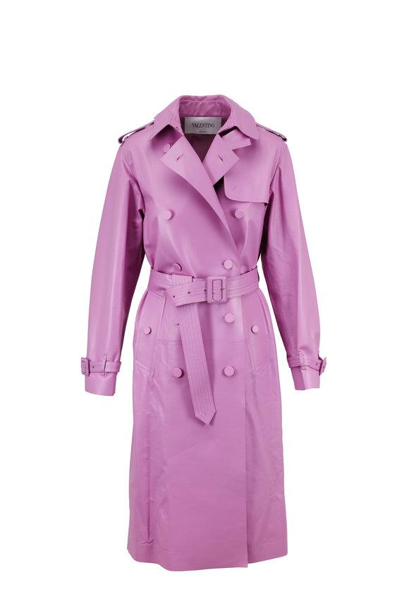 Valentino Cherry Blossom Leather Trench Coat