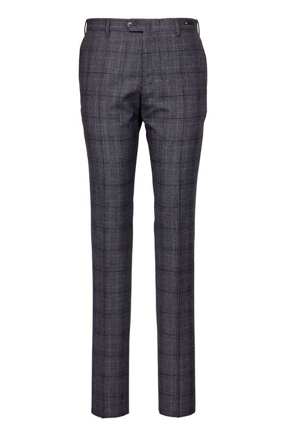 PT01 Grey Wool Prince Of Wales Plaid Pant