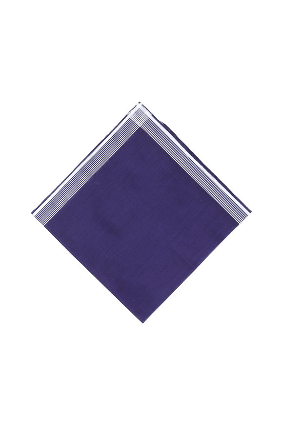 Simonnot-Godard Navy Blue Striped Pocket Square