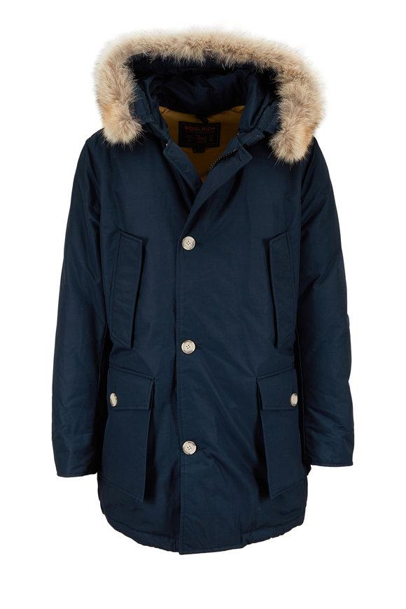 Woolrich Arctic Navy Blue Teflon Fur-Trim Hooded Parka