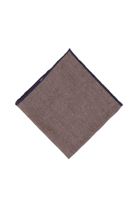 Paolo Albizzati Solid Taupe Reversible Wool Blend Pocket Square
