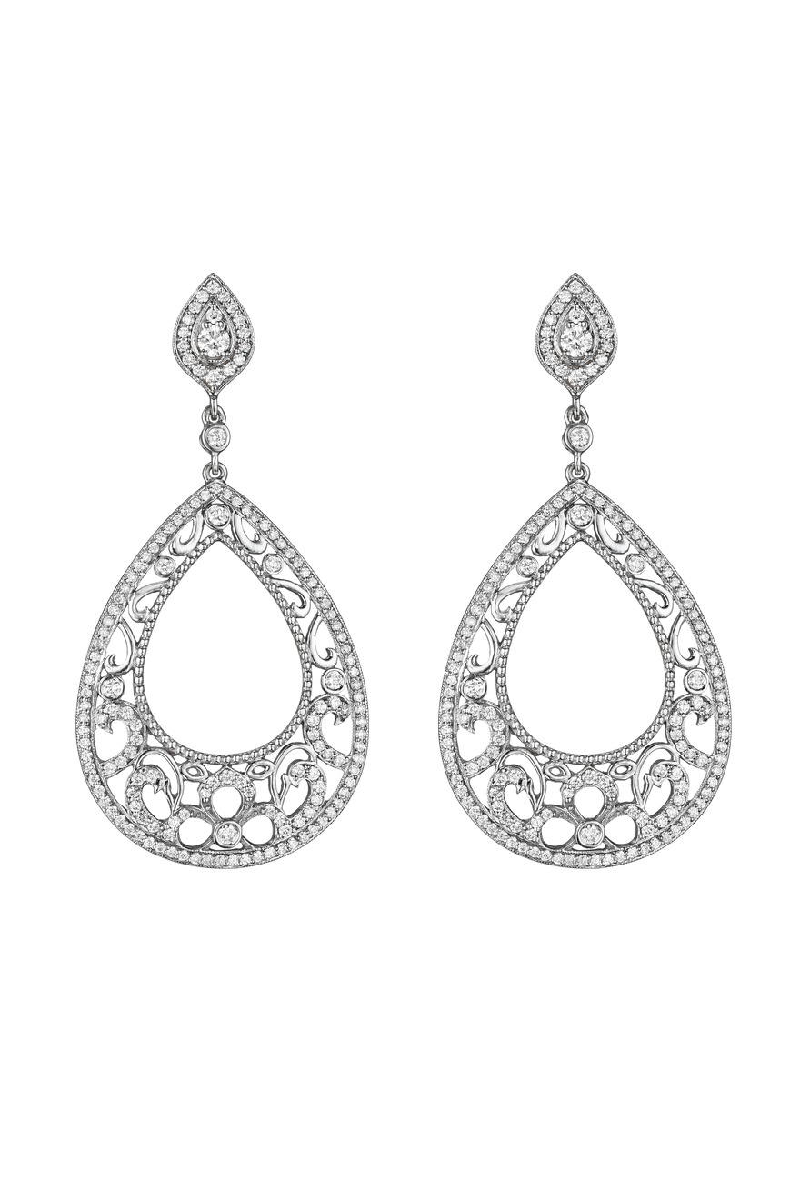 White Gold Diamond Scroll Earrings