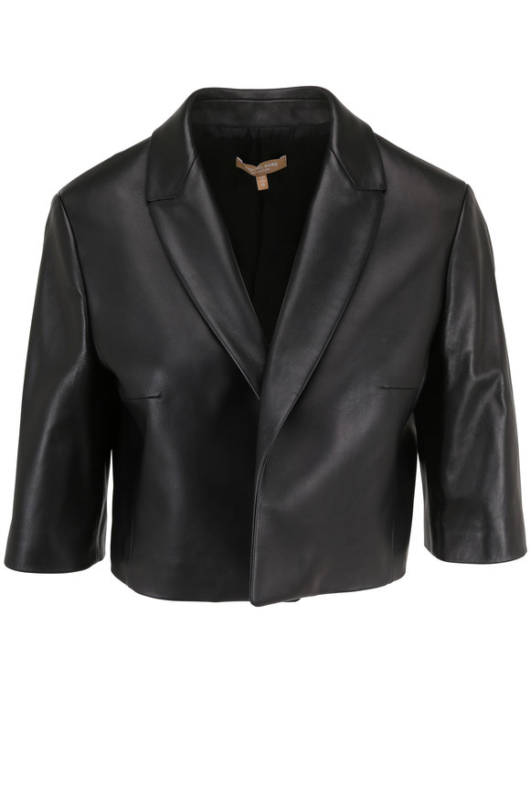 Michael Kors Collection Black Leather Cropped Jacket