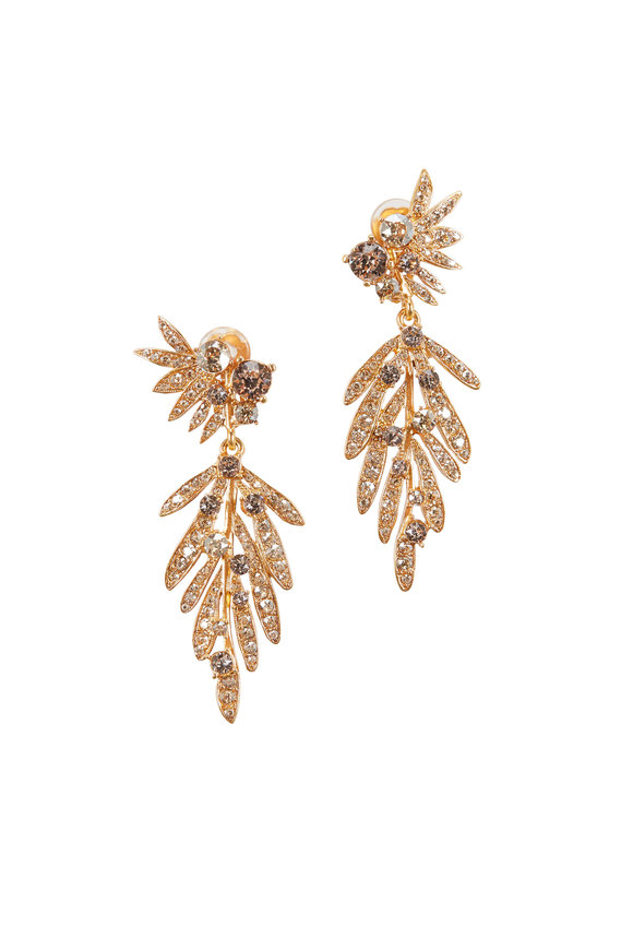 Oscar de la Renta Gold Tropical Palm Crystal Drop Earrings