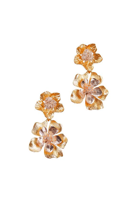Oscar de la Renta Gold Two-Toned Bold Flower Drop Earrings