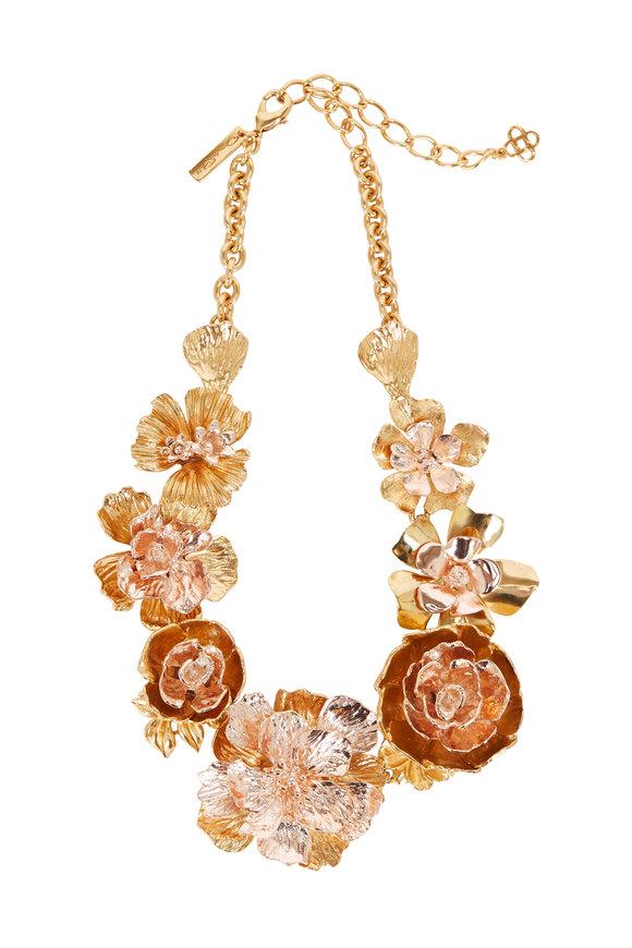 Oscar de la Renta Gold Two-Toned Bold Flower Necklace