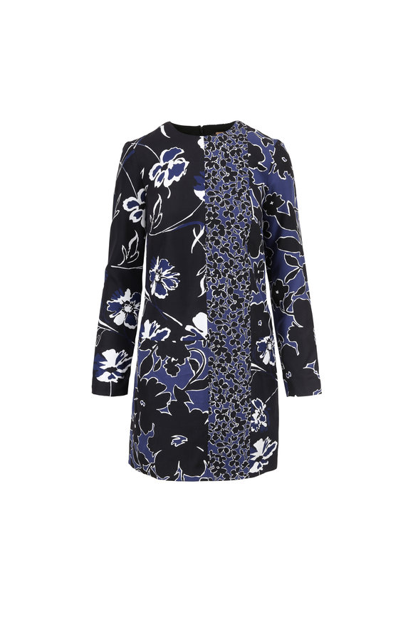 Michael Kors Collection Sapphire Mixed Graphic Print Shift Dress