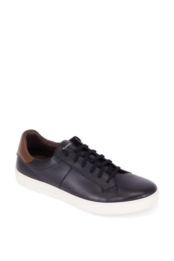 Ermenegildo Zegna Vittorio Black Leather Sneaker