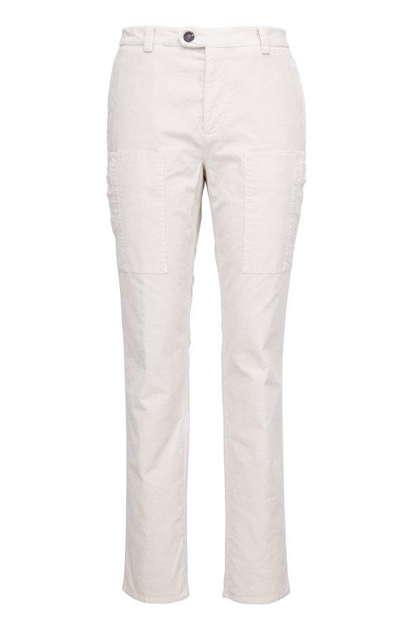 Brunello Cucinelli Ivory Corduroy Zip Cargo Pocket Pant