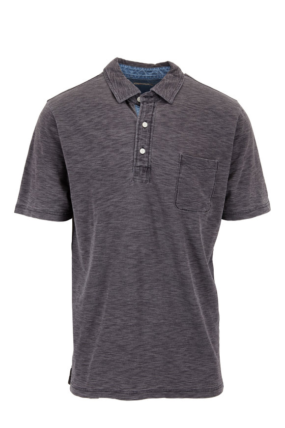 Faherty Brand Black Indigo Wash Slub Knit Pocket Polo