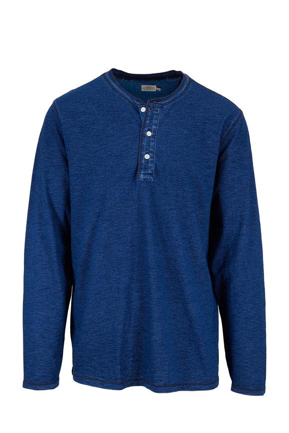 Faherty Brand Blue Dark Wash Cotton Henley