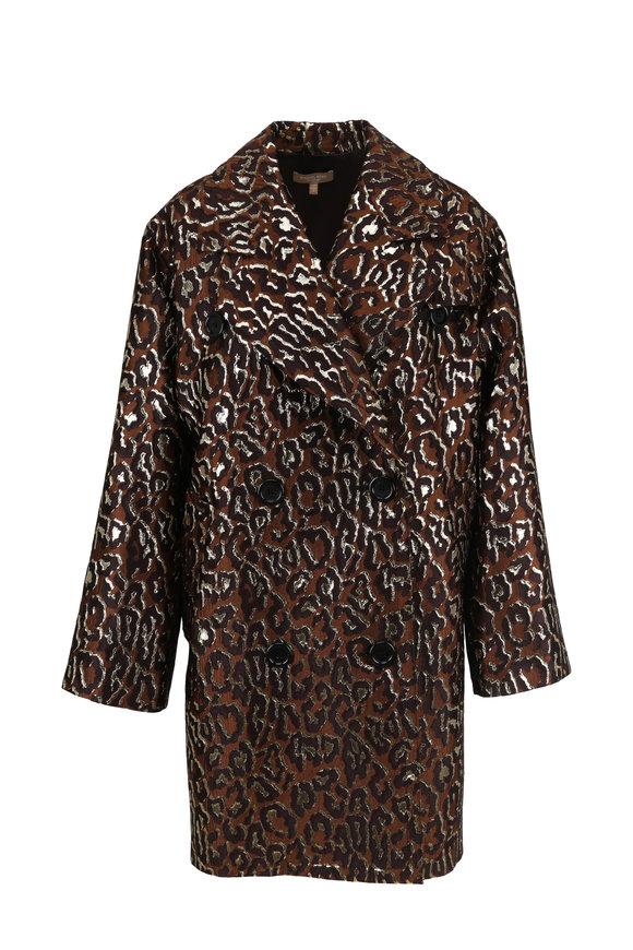 Michael Kors Collection Saddle Metallic Leopard Jacquard Coat