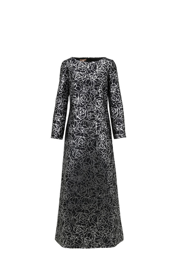 Michael Kors Collection Black Metallic Jacquard Boat Neck Gown