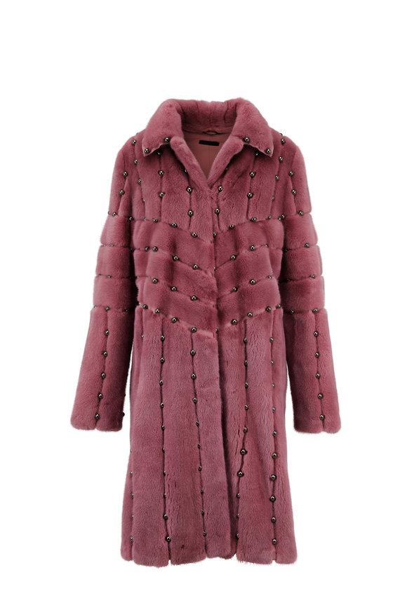 Brandon Sun Clay Rose Studded Mink Coat