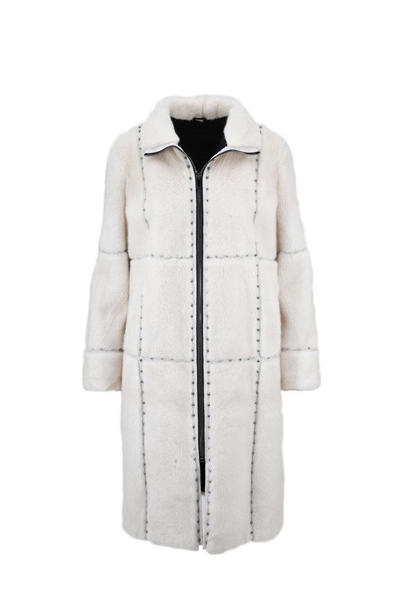 Brandon Sun Pearl Studded Mink Zip Coat