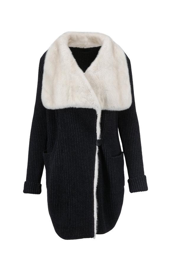 Brandon Sun Charcoal Ribbed Wool Cardigan With Mink Fur Trim