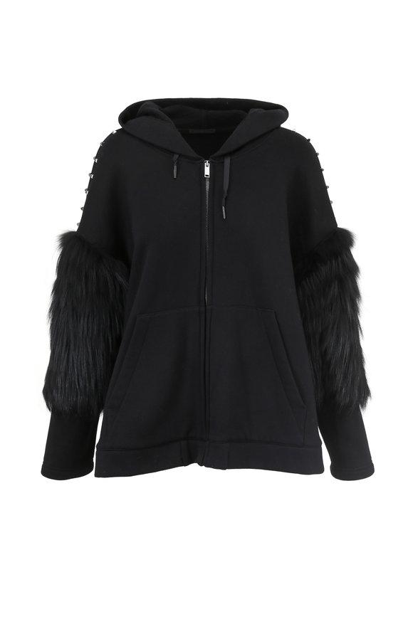 Brandon Sun Black Fleece & Studded Fur Sleeve Hoodie