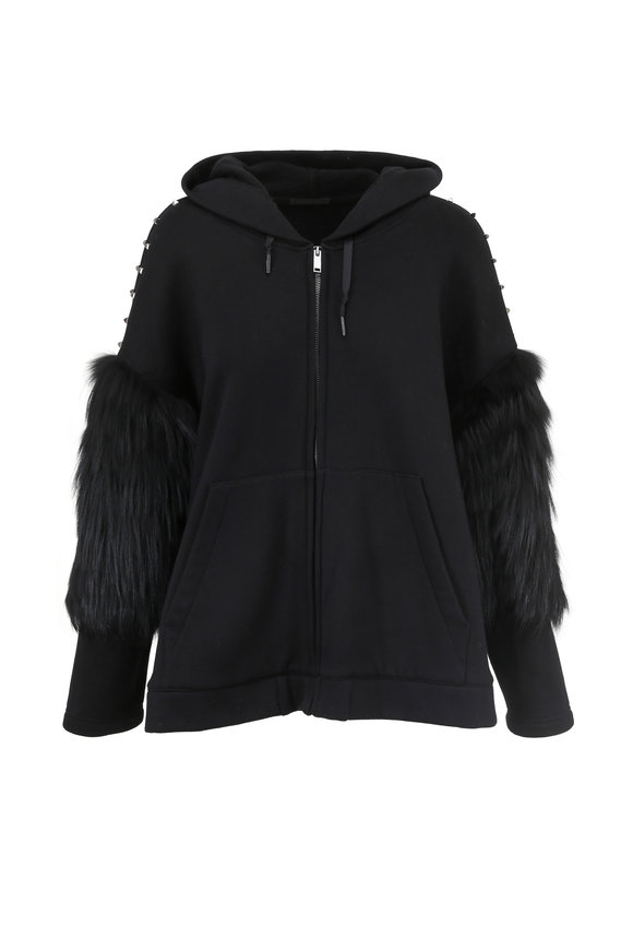 Brandon Sun Black Fleece & Studded Fur Sleeve Hoodie