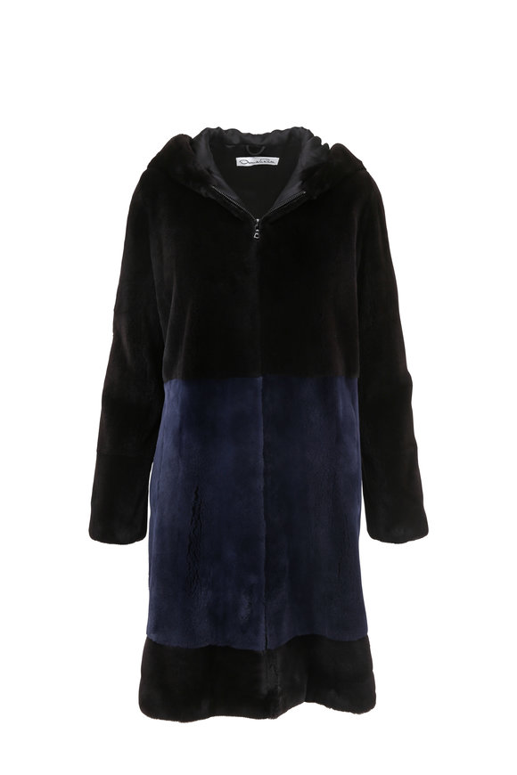 Oscar de la Renta Furs Black & Midnight Blue Mink Zip Coat With Hood