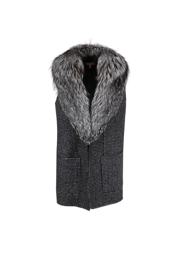 Michael Kors Collection Gray Houndstooth Detachable Fur Collar Vest