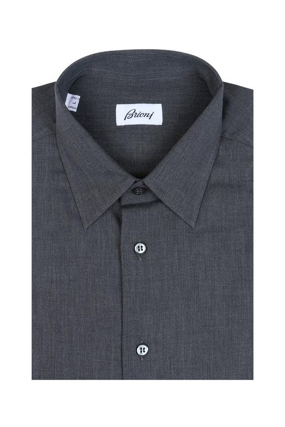Brioni Solid Gray Sportshirt