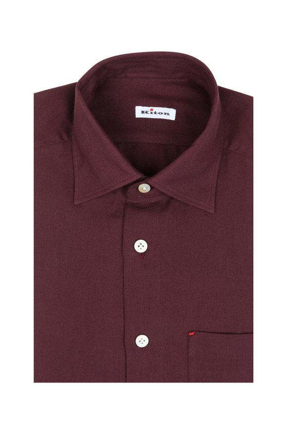 Kiton Solid Burgundy Sport Shirt