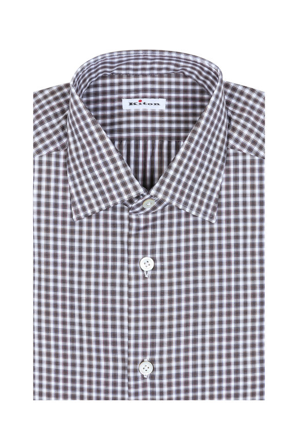Kiton Brown & White Check Dress Shirt