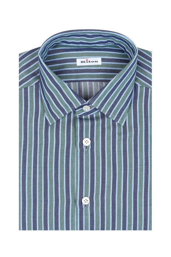 Kiton Green & Blue Striped Dress Shirt