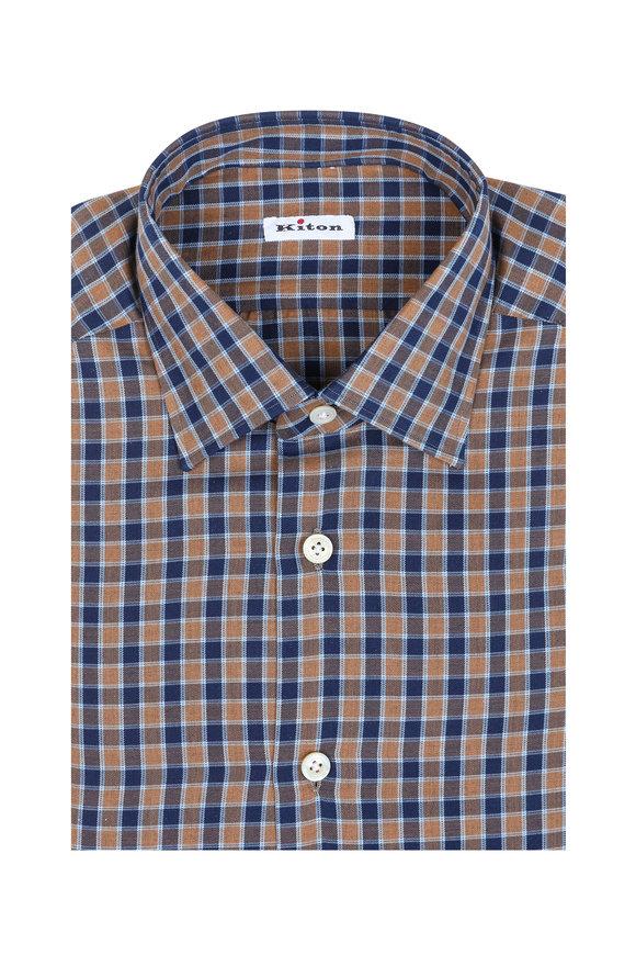 Kiton Tan & Brown Check Cashmere Blend Dress Shirt